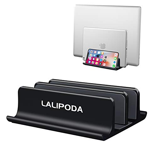 Vertical Laptop Stand,Double Desktop Stand Holder with Adjustable Dock (Upgraded Dock Version, Up to 17.3in) Fits All MacBook, Phone, Surface, Samsung, HP, Dell, Chrome Book and Gaming Laptops