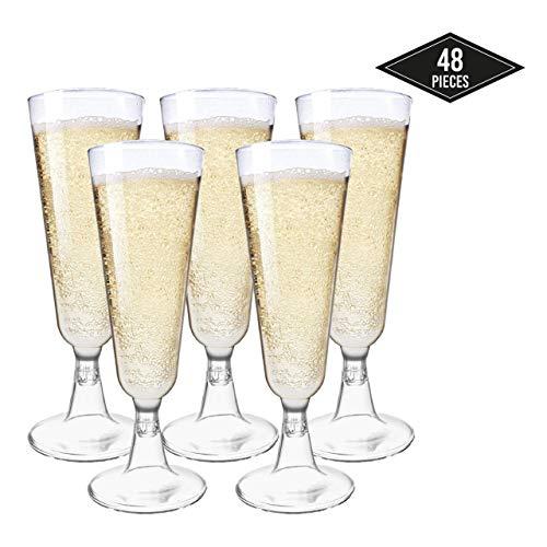 matana 48 Elegante Einweg Sektgläser aus Kunststoff, Transparent 150ml - Stabile & Wiederverwendbar| Plastik Champagnergläser Sektkelche für Partys Geburtstage Hochzeiten Weihnachten Neujahrsfeiern.
