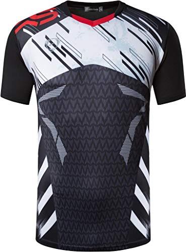 jeansian Herren Sport Tee Shirt Tshirt T-Shirt Kurzarm Tops Tennis Golf Bowling Trockener Sitz LSL299 Black XXL