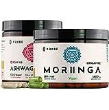 Endurance Duo: Organic KSM-66 Ashwagandha + Organic Moringa - Vegan Capsules - 2 Month Supply - Reduce Stress Fatigue Tension Worry Laziness - Boost Energy Immunity Performance Memory Focus