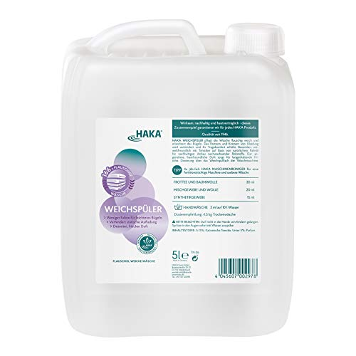HAKA Weichspüler I 5 Liter I Umweltfreundlicher Weichspüler als Ultra Konzentrat I Mit frischem Duft I Ohne Farbstoffe I Sehr Gut hautverträglich