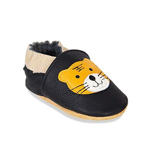 HMIYA Weiche Leder Krabbelschuhe Babyschuhe Lauflernschuhe mit Wildledersohlen für Jungen und Mädchen(6-12 Monate,Schwarz Tiger)