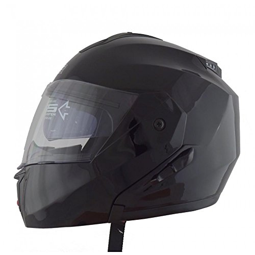 Cruizer Modularer Motorradhelm, Doppelvisier, zugelassen nach ECE22-05, Integral-Sonnenblende, schwarz-glänzend, Größe L