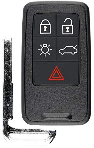 KeylessOption Keyless Entry Remote Control Smart Car Key Fob Uncut Key Blade for S60 S80 XC60 XC70 Volvo KR55WK49264