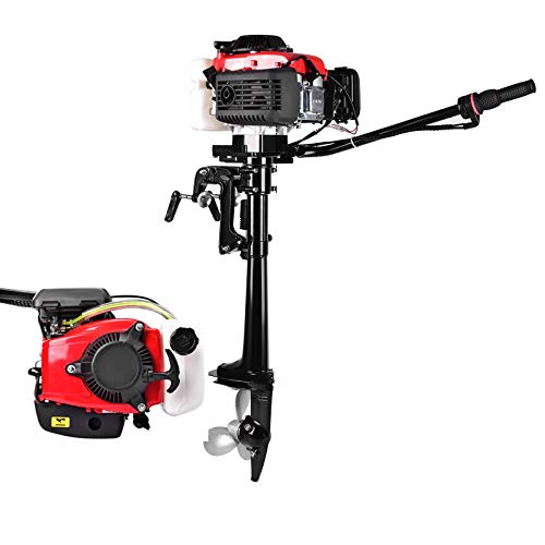 NN/AA 4HP 4 Stroke Outboard Motor Boat Engine with Air Cooling CDI System Fishing Boat Engine 52cc Water Sports Heavy Duty Boat Motor
