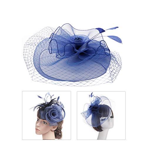 Amosfun Alfombra de avestruz Fascinator boda Pinza de pelo nupcial Accesorios (azul...