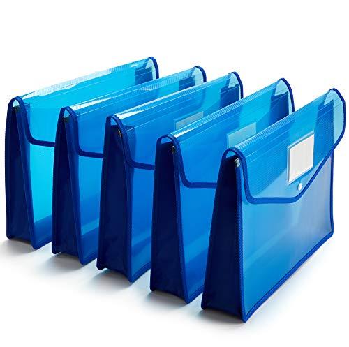FANWU Plastic Wallet Folder Envelope Poly Envelope Expandable File Wallet Document Folder with Snap Button Closure, Legal Size, 5 Pack Large Waterproof Accordion File Pouch (Blue)