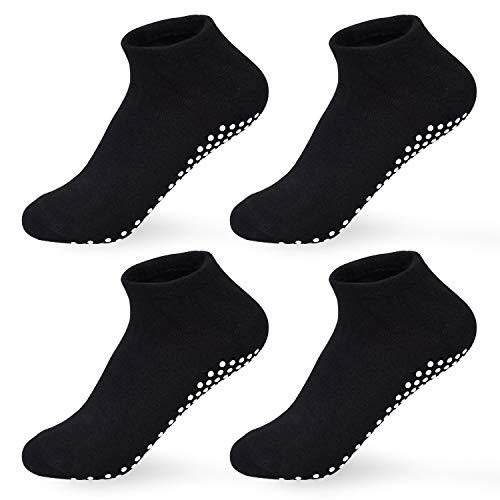 4 pares de calcetines antideslizantes para mujer, para yoga, pilates, trampolín, ballet, para hombre y mujer, color negro