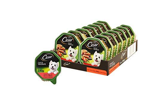 Cesar Cuore di Verdure Tenero Cibo per Cane, Paté con Delizioso Manzo e Cuore di Verdure 150 g - 14 Vaschette