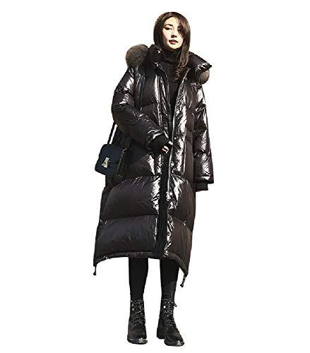 ZWHDS donsjack voor winter, glanzend wit, voor dames, eenden onder met capuchon, glanzend, warme jas, geschikt voor kantoormedewerkers