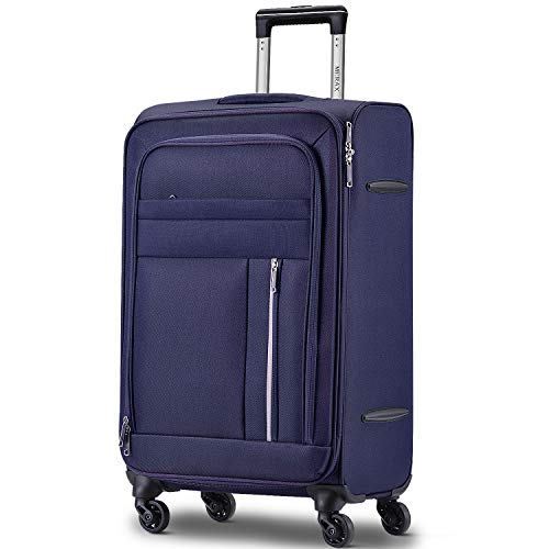 28 inch Large Durable & Expandable Lightweight Soft Shell Suitcase, 4 Wheels, Blue