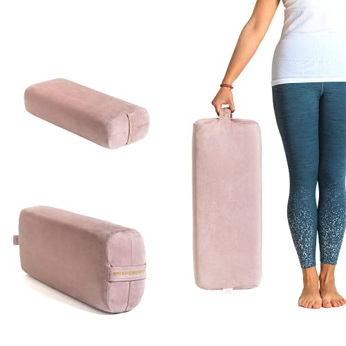Yoke Wellness Yoga Bolster Pillow - Eco-Friendly, Yoga Cushion Rectangular Support & Yoga Accessories. Removable Cover, Machine Washable with Carry Handle - For Pregnancy, Recovery, Restorative Yoga