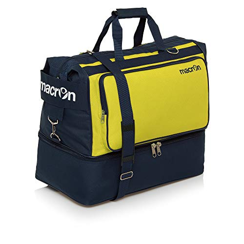 BORSONE MACRON TOPEKA HOLDALL PALESTRA FITNESS SPORT BORSA CALCIO BAGS FOOTBALL TRAINING (Blu Navy / Giallo, Large)