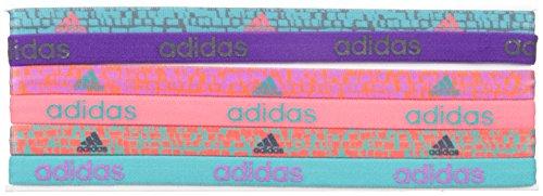 adidas Juego de cintas para el pelo para mujer, 6 unidades - 200714, Vivid Mint/Shock Purple/Shock Red/Dark Grey