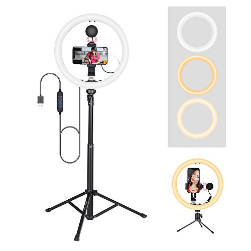 58' Tripod 12' LED Ring Light with Microphone Smartphone Video kit for iPhone Android Smartphones Live Streaming, Vlog Vlogging Selfie for iPhone 7 8 X XS MAX 11 Pro iPhone 12 Samsung