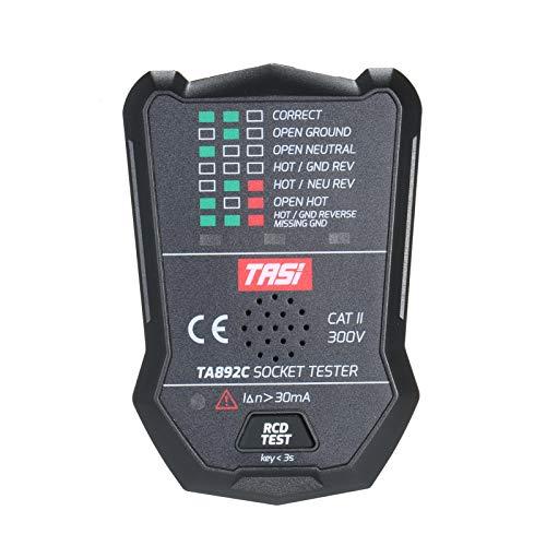Festnight Probador de enchufe eléctrico RCD Detector de circuito multifuncional Cable de tierra Línea cero Probador de fugas de línea en vivo Transmisión de voz Enchufe de la UE
