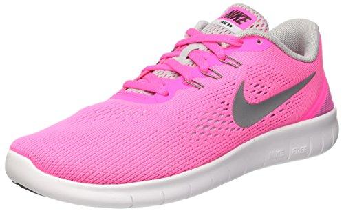 Nike Mädchen Free Rn Gs Trainingsschuhe, Multicolore (Pink Blast/Metallic Silver-White-Black), 38 EU