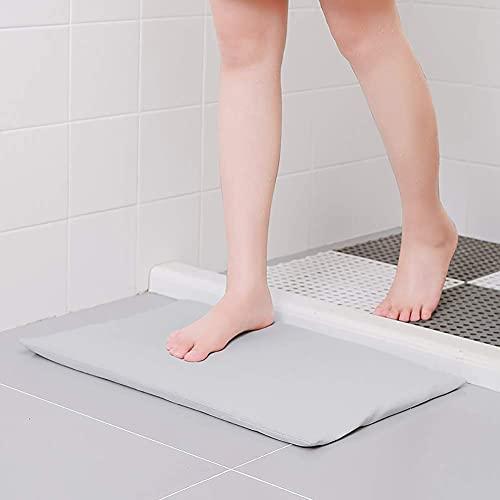 WLA Gezellige zachte diatomeeënaarde-badmat, waterabsorberende sneldrogende diatomiet badkamers, machine wasbaar antislip badmatten-grijs 52x32cm (Color : Silver, Size : 52x32cm)