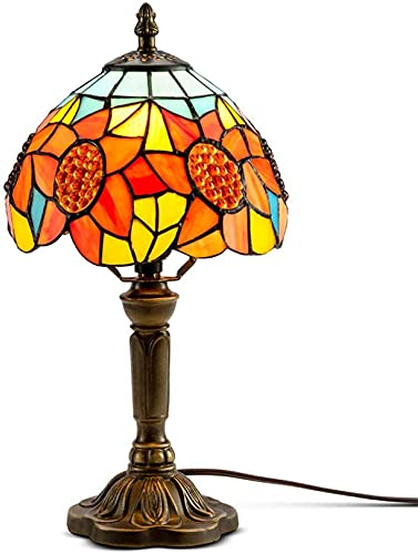 Tiffany lámpara mesita de noche lámpara vidriera lámpara mesita de noche lámpara girasol adecuado para dormitorio y sala de estar luces decorativas