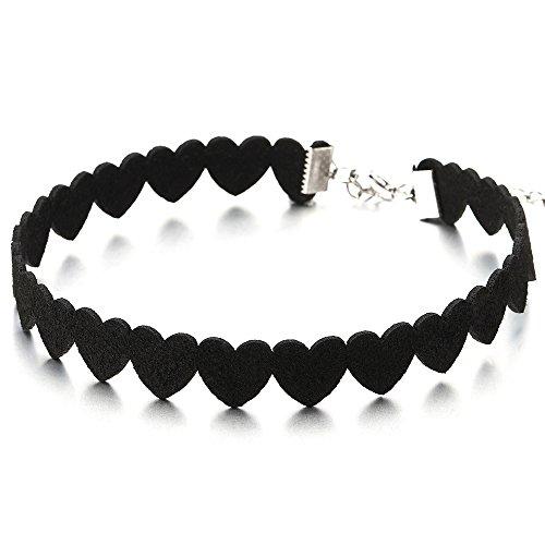 COOLSTEELANDBEYOND Schöne Herz Tätowierung Choker Halsketten Schwarz Halskette für Damen Mädchen