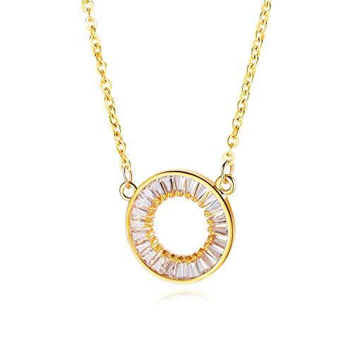 FJYOURIA Collares de círculo chapados en oro para mujer con cristal