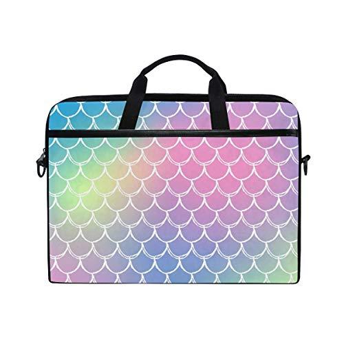 Mermaid Scale Rainbow - Bolsa de Hombro para Ordenador portátil, diseño de Cuento de Peces Rosa y Morado