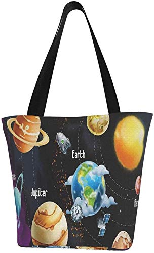 Canvas Tote Bags for Women with Zip,Galaxy Space Planet Handbags Shoulder,Big Capacity Shopping Bag,College Bookbag for Girls,Printed Travel Beach Hobo Bags for Ladies
