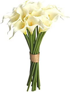 Calla Lily Bridal Wedding Bouquet 20 PCS a Set Flower Bouquets Home Decor Gift (Cream)