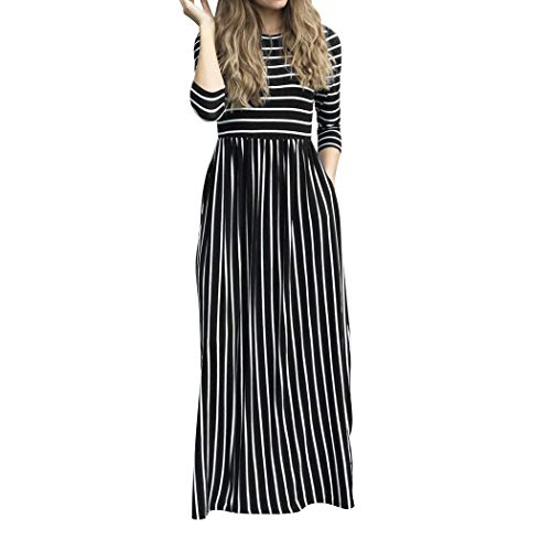 BOLAWOO Zomerjurk Vrouwen Pocket Fraizeitkleid Maxi met Jurk Party Mode Merken Jurk Strandkleid Rundhals Streifen Kleider