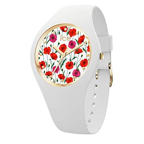ICE-WATCH - ICE flower White poppy, Reloj blanco para Mujer con Correa de silicona - 016665 (Medium)
