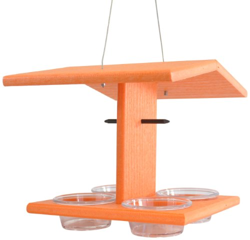 Backyard Boys Woodworking GS71O 4 Place Oriole Feeder, Orange
