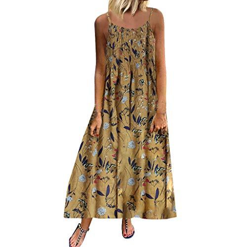 Sommerkleider Damen Kleider Große Größen,Frau Vintage ärmelloses O Neck Plus Size Böhmischen Blumendruck Maxikleid A-Linie Sommerkleider Strandkleid T-Shirtkleid Blusenkleid