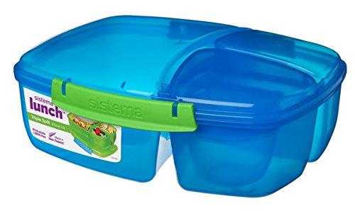 Sistema 2000 ml 3-voudig onderverdeelde lunchbox Triple Split + yoghurt-beker 24,5 x 19,5 x 9,2 cm (BxDxH)