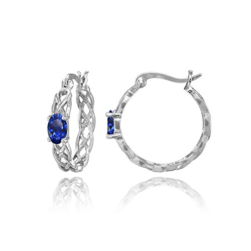 Sterling Silver Created Blue Sapphire Celtic Knot Round Hoop Earrings