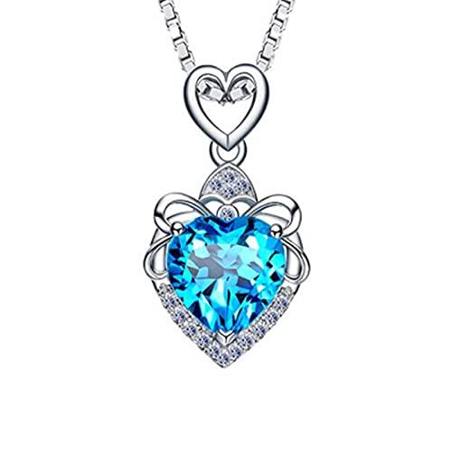 xu S925 Collar de Cristal de circonita cúbica Azul mar Plata esterlina Mujer Amor corazón Colgante océano joyería 蓝色心形(单吊坠)