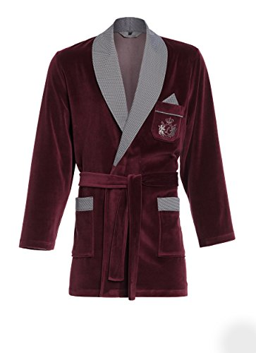 Kurzer Morgenmantel für Herren RE-111 Velour Bademantel - Bordeaux C1 - Gr. 3XL