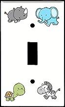 Single Toggle (1-toggle) Light Switch Plate Cover - Cute Safari Animals