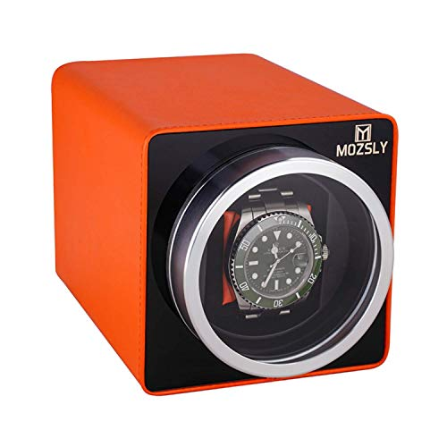 MOZSLY Watch Winder for Automatic Watches with 12 Rotation Mode Setting for Rolex Fit Man Women Automatic Watch Orange Leather