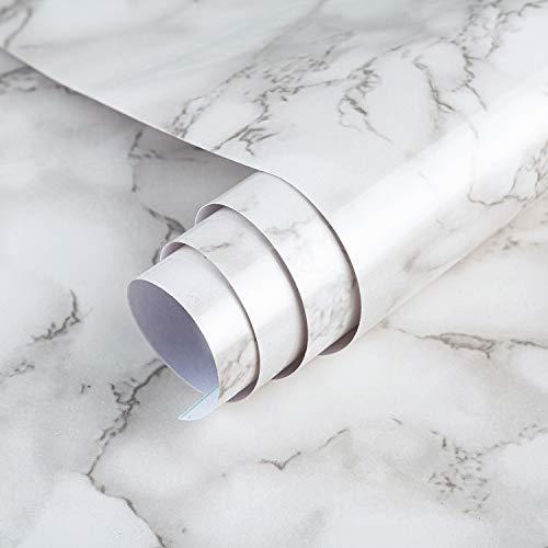 TOTIO Papel pintado de mármol blanco para encimeras, papel