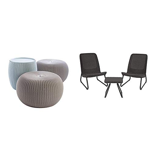 Keter Urban Knit Pouf Ottoman Set of 2 with Storage Table for Patio and Room Décor, Dune/Misty Blue & Rio 3 Piece Resin Wicker Patio Furniture Set with Side Table and Outdoor Chairs, Dark Grey