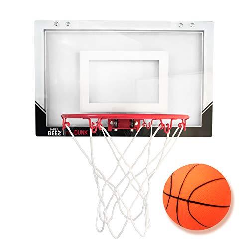 JAPER BEES Mini Pro Over The Door & Wall Mount Basketball Hoop w/Thick Shatterproof Backboard (Mini Dunk)