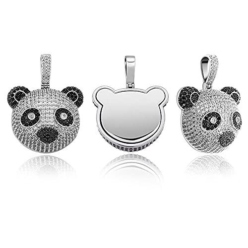 Collar de Panda de cristal helado brillante con colgante de diamantes de imitación para hombres, accesorios de Hip Hop, regalo