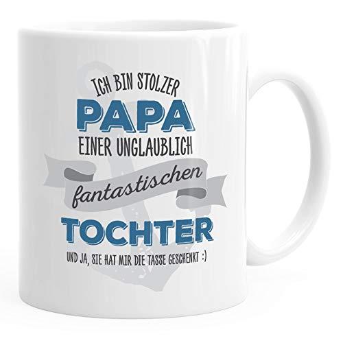 "MoonWorks® - Taza de café, diseño con texto en alemán ""Ich bin storze ungeheuer fantástico"", cerámica, Stolzer Uni Papa - Balón de fútbol, color blanco, talla única"
