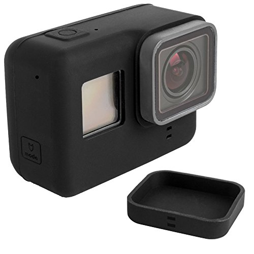 Protective Case for GoPro Hero 5 6 Sport Camera with Lens Cap, FineGood Soft Silicone Covers for Hero5 Hero6 Action Camera and Lens- Black