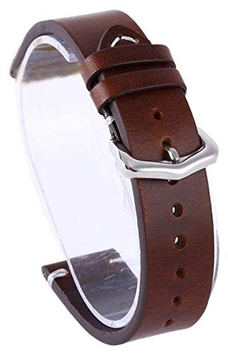 ZJSXIA Cerra de Aceite de la Piel Correas de Reloj de Cuero Vintage Reloj de Reloj de Reloj de Reloj 18 mm 20 mm 22 mm Brown Brown Pulsera de Acero Inoxidable Correa Correas de Reloj