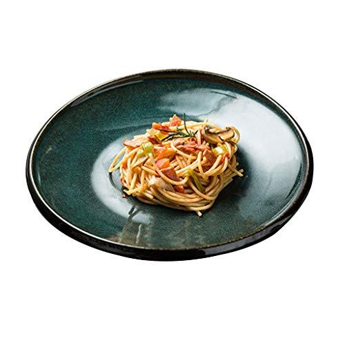 platos Redondo De Carne Cerámica para Pasta De Desayuno Ensalada De Frutas, Ramen, Cerámica para El Hogar Calefactor para Microondas (Color : Green, Size : 26 * 3.5cm)