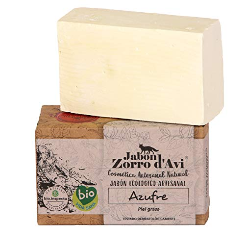Jabón Zorro D'Avi   Jabón Natural Ecológico de Azufre   120 gr   para Pieles Grasas y Seborreica   Jabón Biodegradable Zero Waste   Control del Acné   Fabricado en España