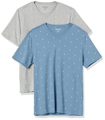 Amazon Essentials Men's 2-Pack Slim-Fit Short-Sleeve V-Neck T-Shirt, Palm Tree/Grey Heather, X-Large