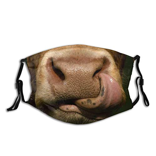 Funny Cow Sticking Out Tongue Cute Black Washable Cloth Face Mask Bandanas Balaclava Reusable Outdoor Fashion for Men Women