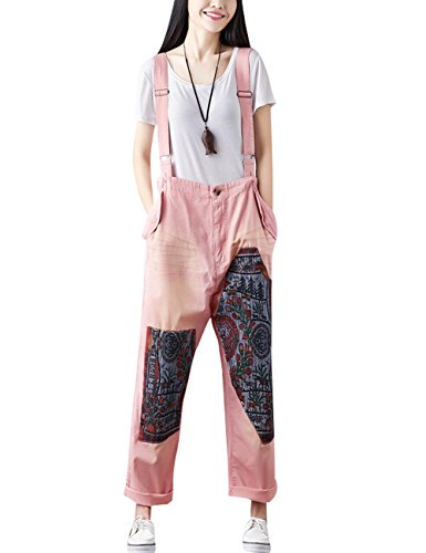 Youlee Damen Sommer Breites Bein Hose Denim Latzhose Overall Hosen Style 21 Pink